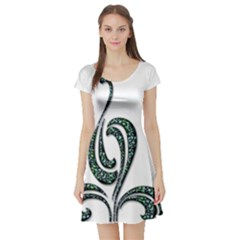 Scroll Retro Design Texture Short Sleeve Skater Dress
