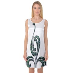 Scroll Retro Design Texture Sleeveless Satin Nightdress