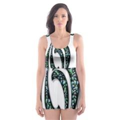 Scroll Retro Design Texture Skater Dress Swimsuit