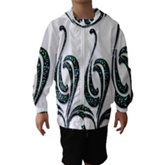 Scroll Retro Design Texture Hooded Wind Breaker (Kids)