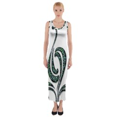 Scroll Retro Design Texture Fitted Maxi Dress