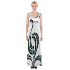 Scroll Retro Design Texture Maxi Thigh Split Dress