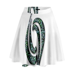 Scroll Retro Design Texture High Waist Skirt