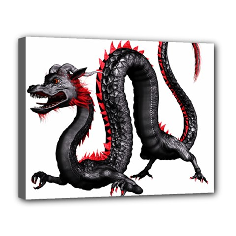 Dragon Black Red China Asian 3d Canvas 14  X 11