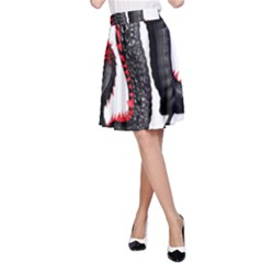 Dragon Black Red China Asian 3d A Line Skirt