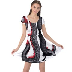 Dragon Black Red China Asian 3d Cap Sleeve Dresses