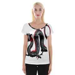 Dragon Black Red China Asian 3d Women s Cap Sleeve Top