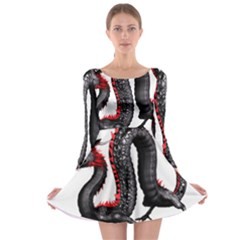 Dragon Black Red China Asian 3d Long Sleeve Skater Dress
