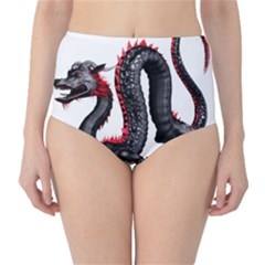 Dragon Black Red China Asian 3d High-Waist Bikini Bottoms