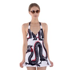 Dragon Black Red China Asian 3d Halter Swimsuit Dress