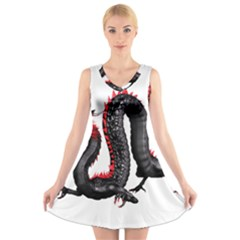 Dragon Black Red China Asian 3d V Neck Sleeveless Skater Dress