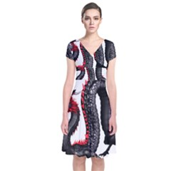 Dragon Black Red China Asian 3d Short Sleeve Front Wrap Dress