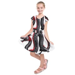 Dragon Black Red China Asian 3d Kids  Short Sleeve Dress