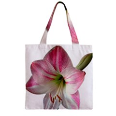 Flower Blossom Bloom Amaryllis Zipper Grocery Tote Bag