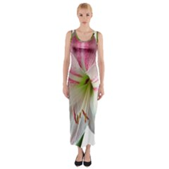 Flower Blossom Bloom Amaryllis Fitted Maxi Dress