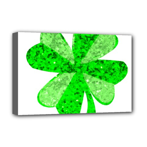 St Patricks Day Shamrock Green Deluxe Canvas 18  X 12