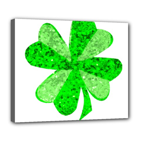St Patricks Day Shamrock Green Deluxe Canvas 24  X 20