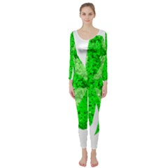 St Patricks Day Shamrock Green Long Sleeve Catsuit