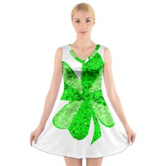 St Patricks Day Shamrock Green V Neck Sleeveless Skater Dress