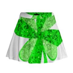 St Patricks Day Shamrock Green Mini Flare Skirt