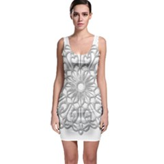 Scrapbook Side Lace Tag Element Sleeveless Bodycon Dress