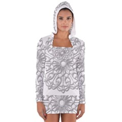Scrapbook Side Lace Tag Element Women s Long Sleeve Hooded T-shirt