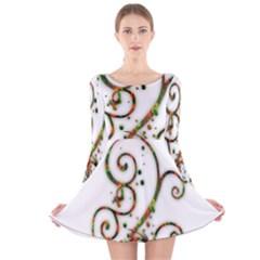 Scroll Magic Fantasy Design Long Sleeve Velvet Skater Dress