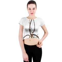 Abstract Shape Stylized Designed Crew Neck Crop Top