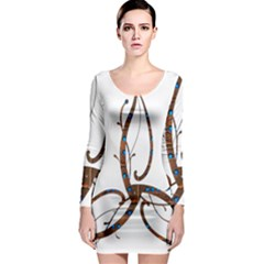 Abstract Shape Stylized Designed Long Sleeve Bodycon Dress
