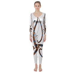 Abstract Shape Stylized Designed Long Sleeve Catsuit