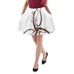 Abstract Shape Stylized Designed A Line Pocket Skirt