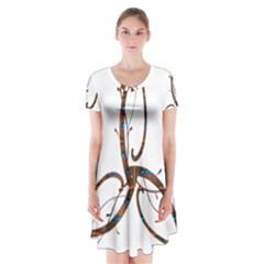 Abstract Shape Stylized Designed Short Sleeve V Neck Flare Dress