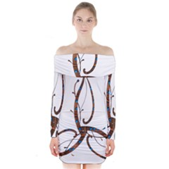 Abstract Shape Stylized Designed Long Sleeve Off Shoulder Dress