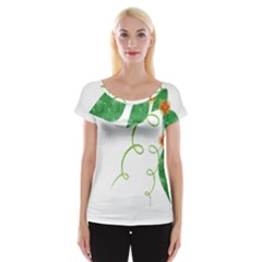 Scrapbook Green Nature Grunge Women s Cap Sleeve Top