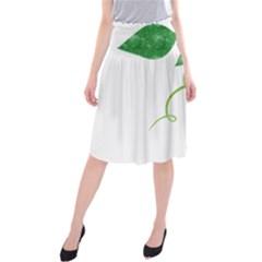 Scrapbook Green Nature Grunge Midi Beach Skirt