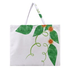 Scrapbook Green Nature Grunge Zipper Large Tote Bag
