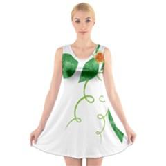 Scrapbook Green Nature Grunge V Neck Sleeveless Skater Dress