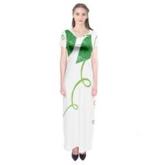 Scrapbook Green Nature Grunge Short Sleeve Maxi Dress
