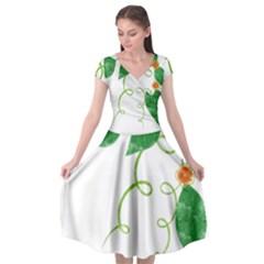 Scrapbook Green Nature Grunge Cap Sleeve Wrap Front Dress