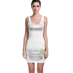 Scrapbook Element Lace Embroidery Sleeveless Bodycon Dress