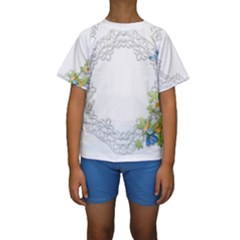 Scrapbook Element Lace Embroidery Kids  Short Sleeve Swimwear
