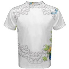 Scrapbook Element Lace Embroidery Men s Cotton Tee