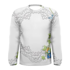 Scrapbook Element Lace Embroidery Men s Long Sleeve Tee