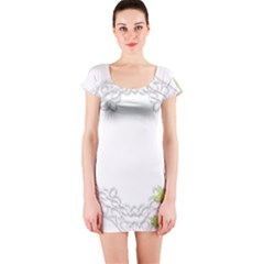 Scrapbook Element Lace Embroidery Short Sleeve Bodycon Dress