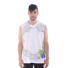 Scrapbook Element Lace Embroidery Men s Basketball Tank Top