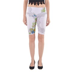 Scrapbook Element Lace Embroidery Yoga Cropped Leggings