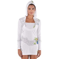 Scrapbook Element Lace Embroidery Women s Long Sleeve Hooded T-shirt