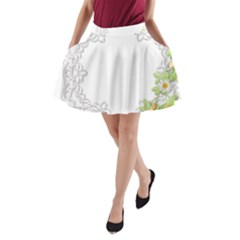 Scrapbook Element Lace Embroidery A-Line Pocket Skirt