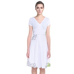 Scrapbook Element Lace Embroidery Short Sleeve Front Wrap Dress