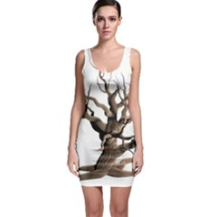 Tree Isolated Dead Plant Weathered Sleeveless Bodycon Dress
